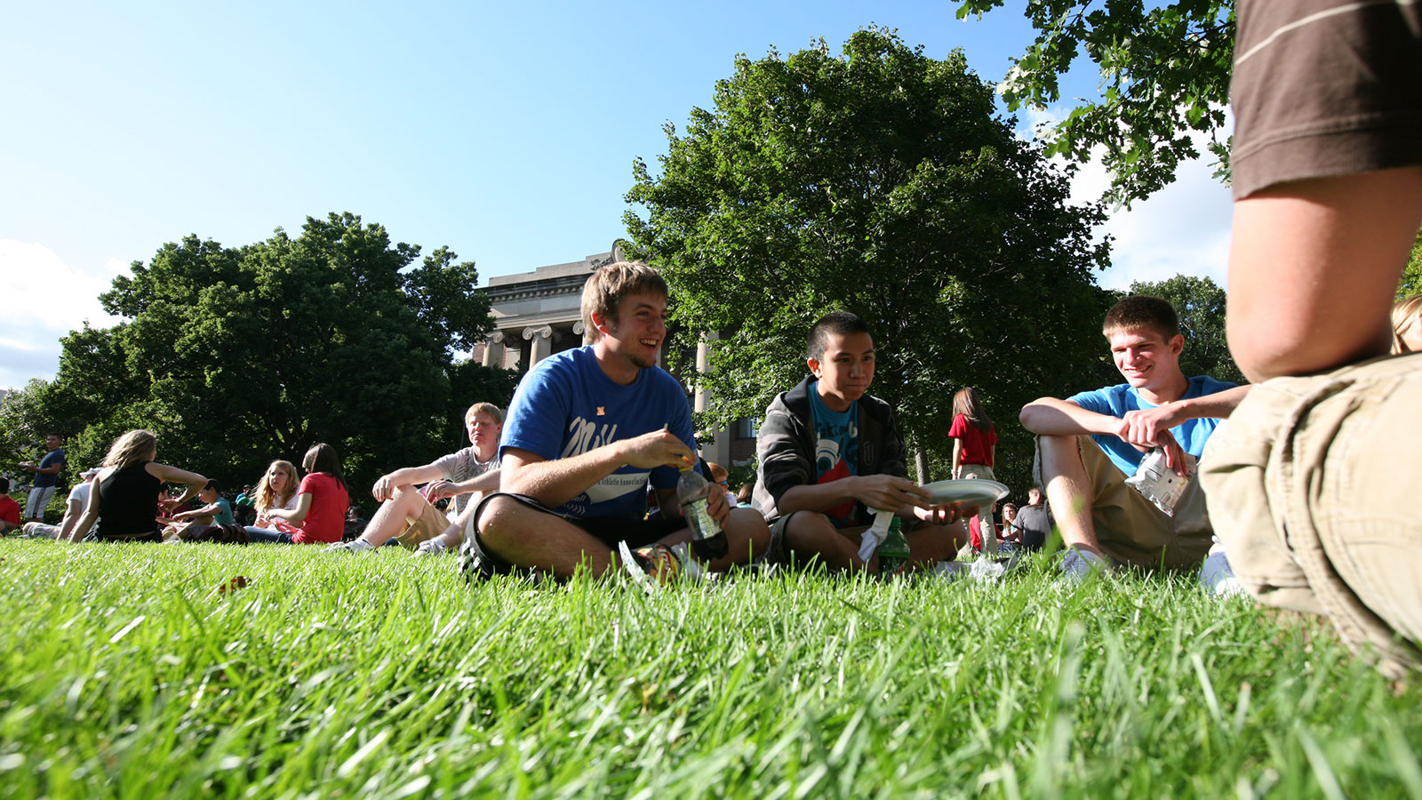 Students sitting in the grass